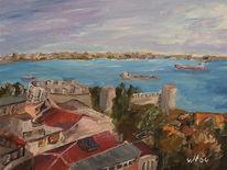 Stadt, Landschaft, Acrylmalerei, Malerei