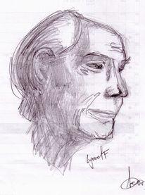 Portrait, Skizze, Bleistiftzeichnung, Zeichnungen