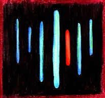 Malerei, Abstrakt, Neon, Schwarz