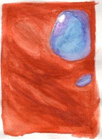 Rot, Abstrakt, Blau, Aquarellmalerei