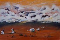 Beduinen, Abheben, Kurz, Malerei
