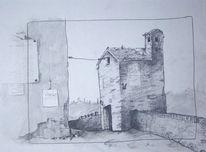 Zeichnungen, Villa, Italien