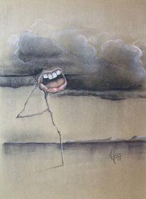 Surreal, Pastellmalerei, Mund, Zeichnung