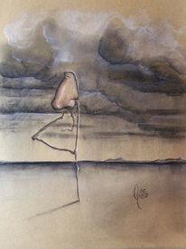 Surreal, Pastellmalerei, Landschaft, Nase