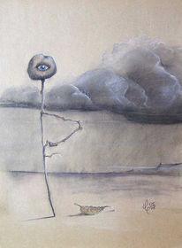 Surreal, Zeichnung, Augen, Landschaft