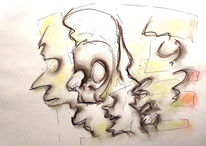 Tuschmalerei, Zeichnung, Gesicht, Fratze