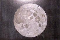 Mond, Nacht, Pastellmalerei, Zeichnungen