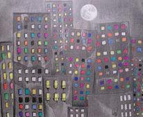 Vollmond, Haus, Stadt, Zeichnungen