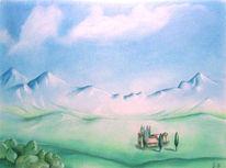 Landschaft, Pastellmalerei, Natur, Zeichnung