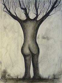 Akt, Baum, Kreide, Zeichnung