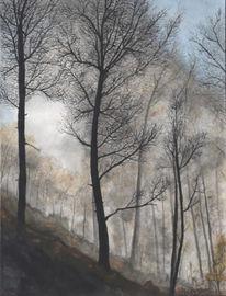 Landschaft, Malerei, Herbstwald