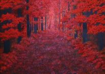 Landschaft, Herbst, Malerei, Herbstwald