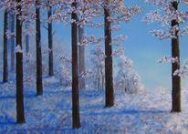 Skizze, Winter, Landschaft, Zeichnung