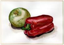 Aquarellmalerei, Malerei, Apfel, Stillleben