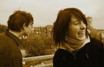 Lachen, Terrasse, Frau, Zuversicht