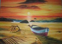 Sonnenuntergang, Strand, Boot, Romantik