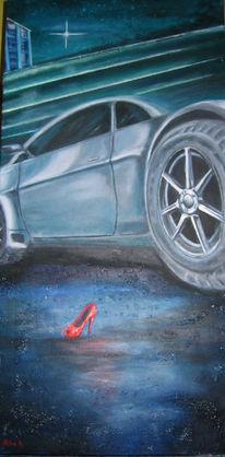 Auto, Straße, Malerei, Aschenputtel