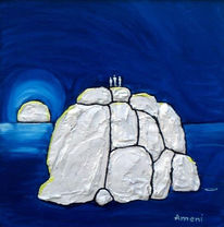 Landschaft, Malerei, Eisberg, Menschen