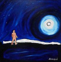 Landschaft, Malerei, Grönland, Nordlicht