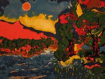 Malerei, See, Sonnenuntergang