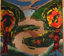 Landschaft, Malerei, Brücke, Traum