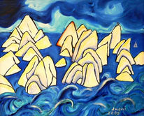 Landschaft, Malerei, Felsen