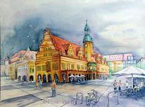 Architektur, Leipzig, Aquarellmalerei, Rathaus