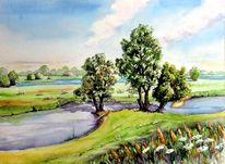 Elberadweg, Landschaft, Aquarellmalerei, Elbe