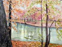 Aquarellmalerei, Teich, Herbst, Aquarell