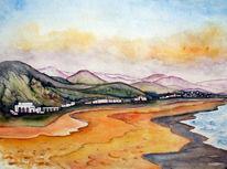 Landschaft, Strand, Kreta, Aquarellmalerei
