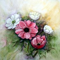 Blumen, Aquarellmalerei, Anemonen, Aquarell