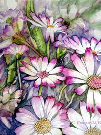 Blumen, Topfpflanze, Aquarell, Aquarelle blumen