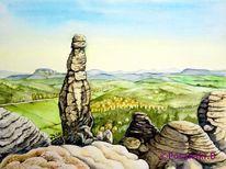 Felsformation, Elbsandsteingebirge, Aquarellmalerei, Barbarine