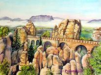 Elbsandsteingebirge, Elbe, Bastei, Aquarellmalerei