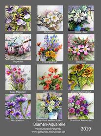 Kalender, Blumenkalender, Blumenaquarelle, Pinnwand