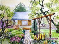 Garten, Blumen, Pflanzen, Aquarell