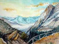 Aquarellmalerei, Landschaft, Samariaschlucht, Berge