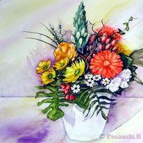 Blumen, Strauß, Aquarell, Aquarelle blumen