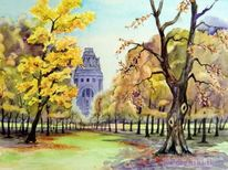 Landschaft, Herbst, Aquarellmalerei, Völkerschlachtdenkmal
