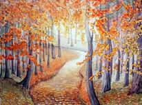 Herbst, Aquarellmalerei, Landschaft, Aquarell