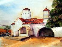 Kreta, Architektur, Aquarellmalerei, Dorfkirche