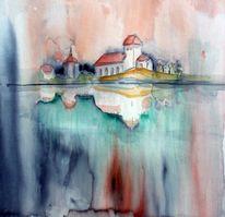 Studie, Beucha, Kirche, Aquarellmalerei