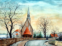 Salzwedel, Aquarellmalerei, Kirche, Aquarell