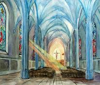 Kirche, Architektur, Aquarellmalerei, Aquarell