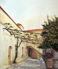 Kloster, Aquarellmalerei, Agia, Architektur