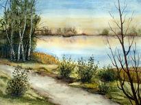 See, Landschaft, Aquarellmalerei, Aquarell
