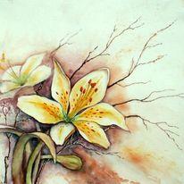 Blumen, Aquarellmalerei, Lilien, Aquarell