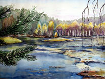 Aquarellmalerei, Heide, Bad, Moor