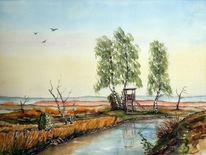 Landschaft, Aquarellmalerei, Moor, Aquarell