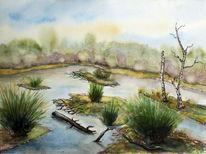 Landschaft, Moor, Aquarellmalerei, Aquarell